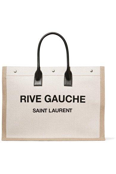 Saint Laurent   Shopper leather-trimmed printed canvas tote   NET-A-PORTER.COM