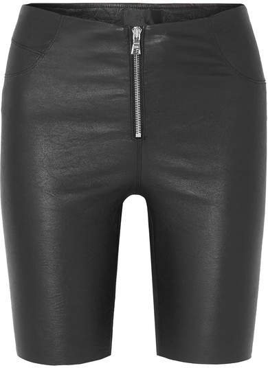 Mona Stretch-leather Shorts - Black