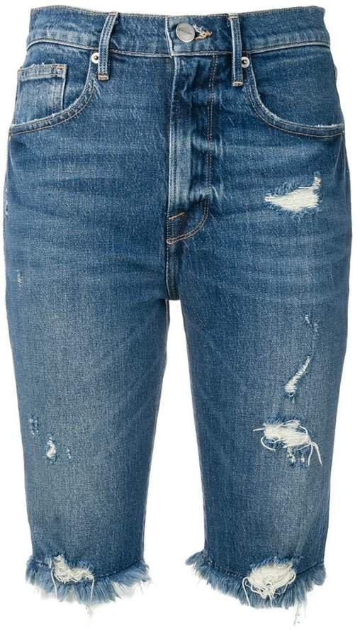 fringed distressed denim shorts
