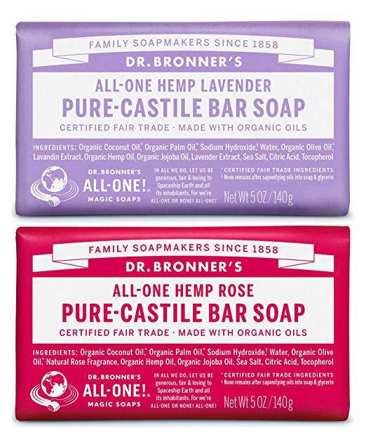 Amazon.com : Dr. Bronner's Pure-Castile Bar Soap Bundle (2 Pack) - Lavender (5oz) & Rose (5 oz) : Gateway