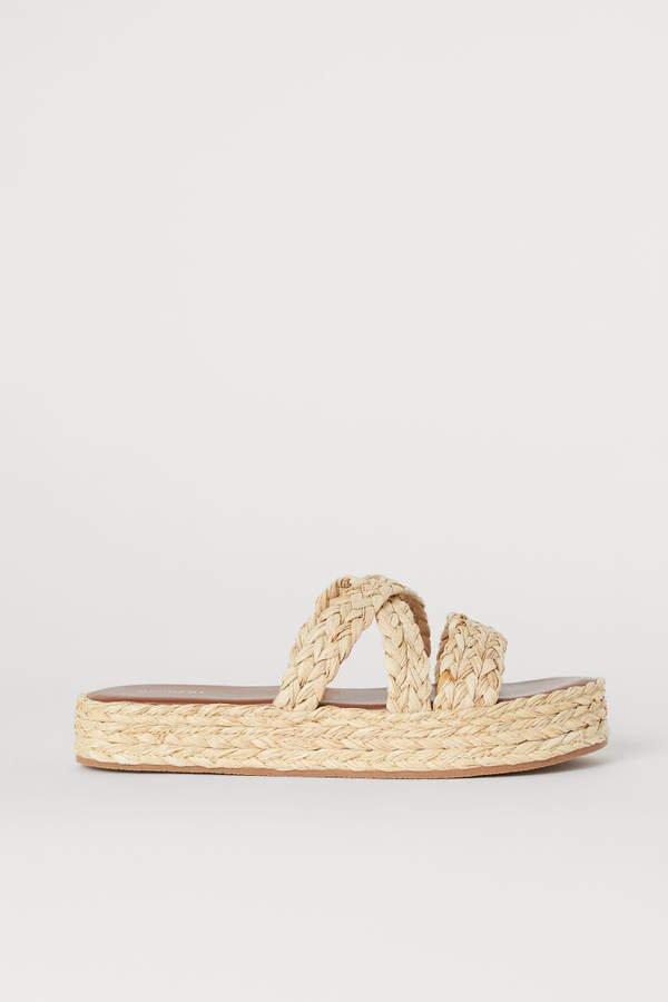 Satin Platform Sandals - Beige