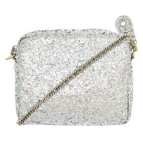 silver glitter handbag