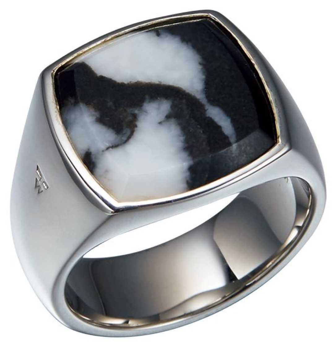 silver and stone ring