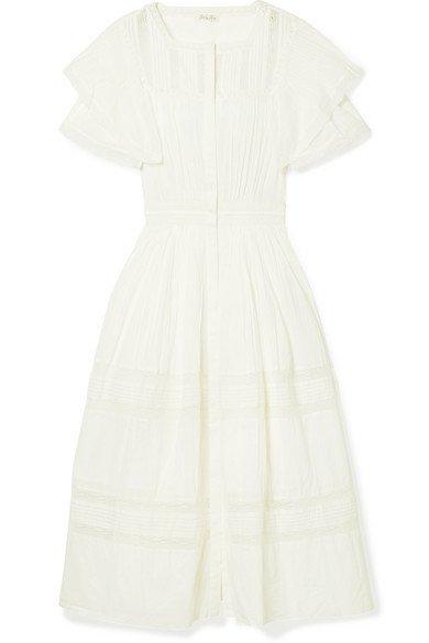 LoveShackFancy | Callie ruffled crocheted lace-trimmed cotton midi dress | NET-A-PORTER.COM