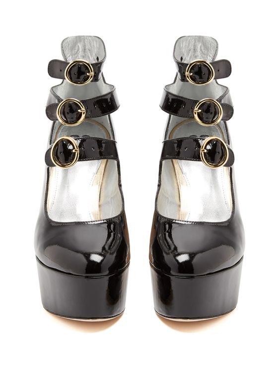 Mary-Jane patent-leather platform pumps