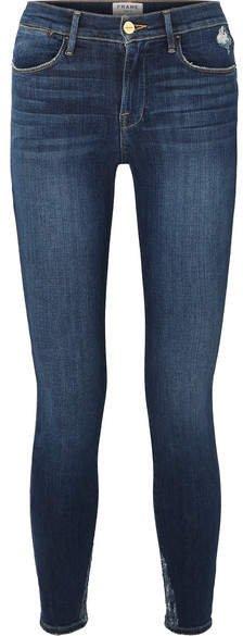 Le High Distressed Skinny Jeans - Mid denim