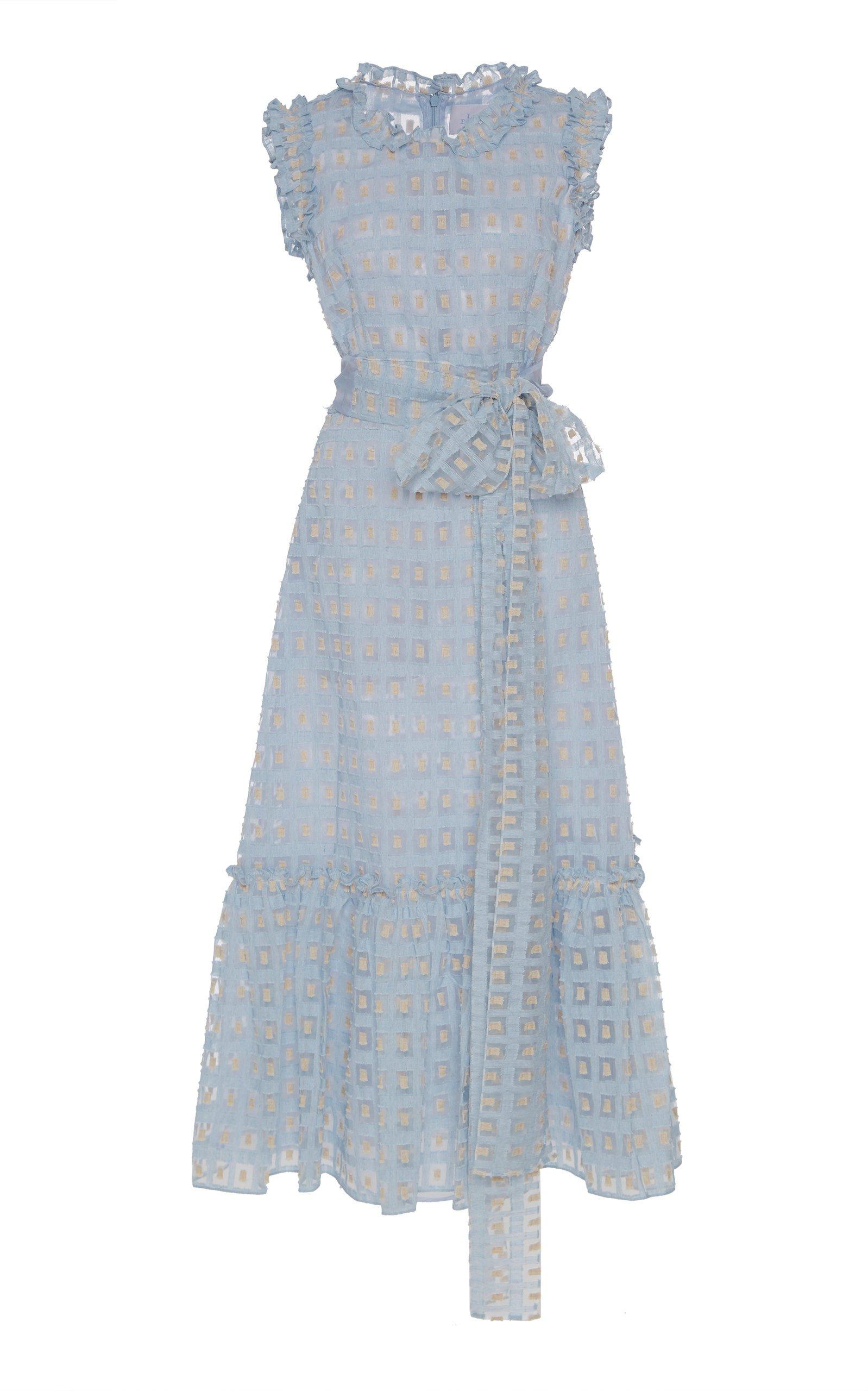 Luisa Beccaria Sheer Jacquard Midi Dress