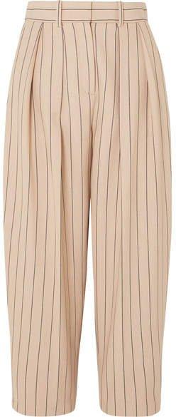 Pinstriped Twill Pants - Beige