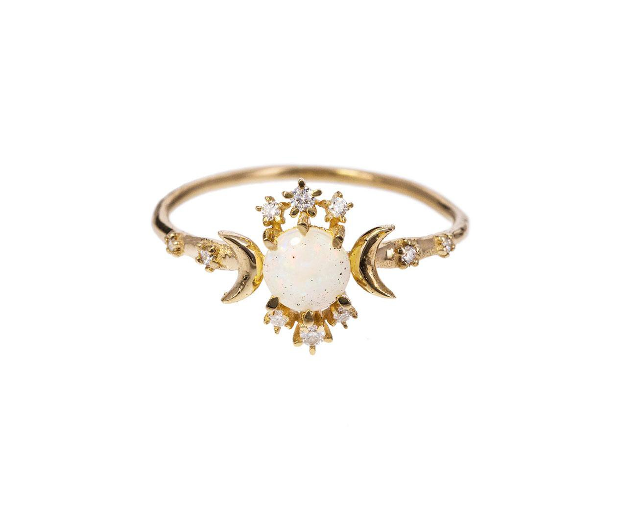 gold diamond opal wandering star ring