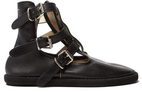 Buckled Leather Ankle Boots - Womens - Black