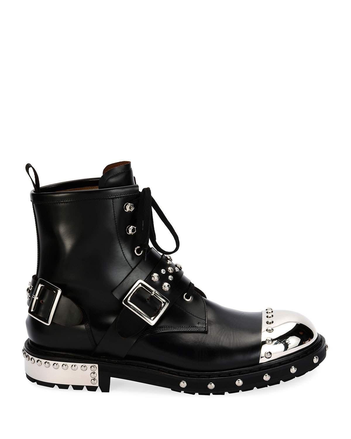 Alexander McQueen Studded Cap-Toe Leather Lace-Up Boots