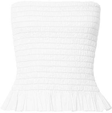 Shirred Cotton-poplin Bustier Top - White