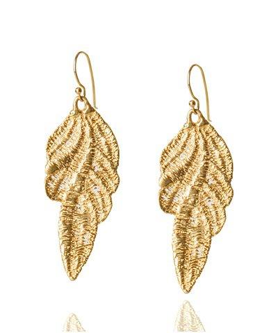 ELENA KOUGIANOU Ivy Leave Gold-Plated Earrings < NEW | aesthet.com