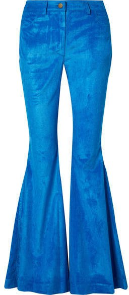 Cotton-blend Corduroy Flared Pants - Bright blue