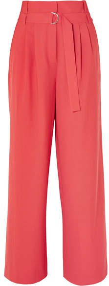 Stella Belted Tropical Wool Pants - Red