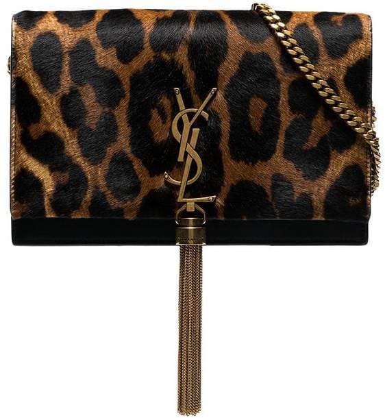 black and brown kate leopard print faux fur chain bag