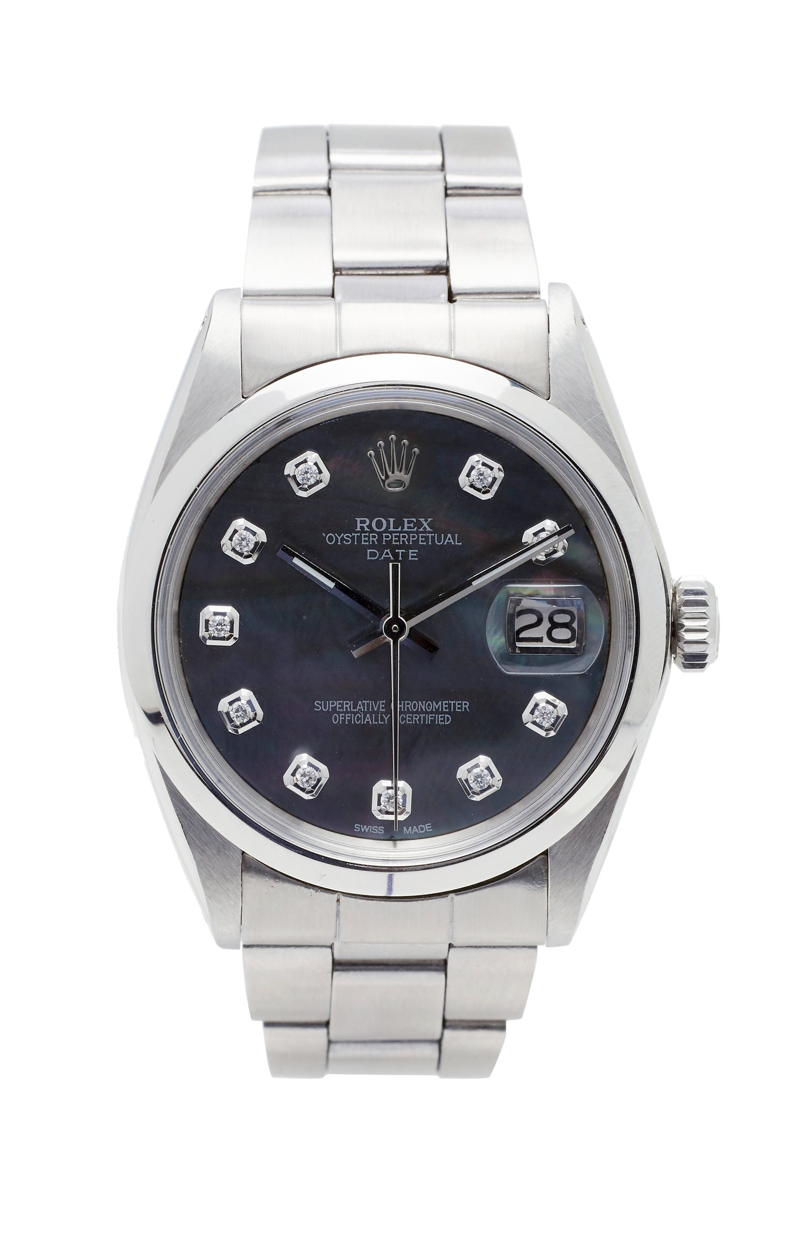 Vintage Watches Rolex Date 34mm Black Shell Pearlized Diamond Dial