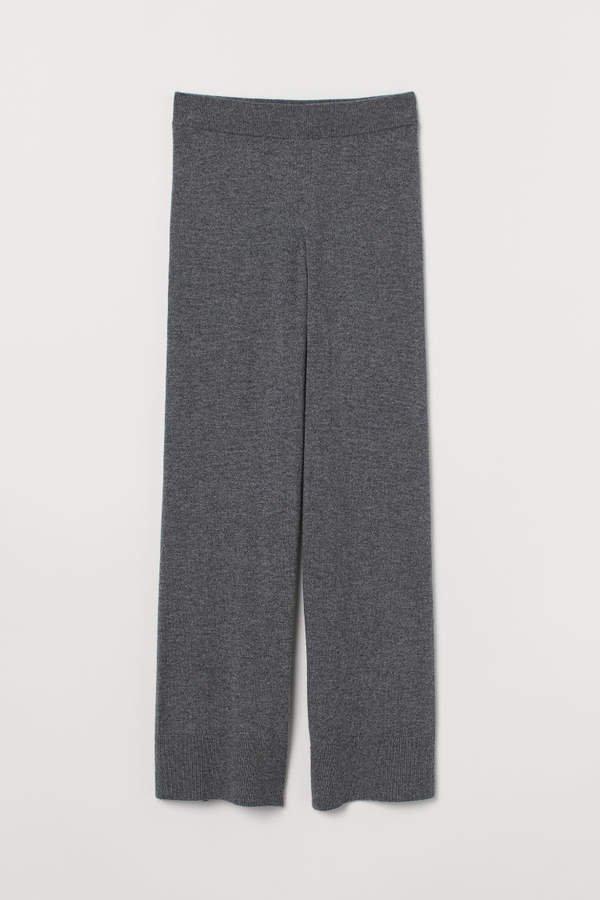 Wide-leg Cashmere Pants - Gray