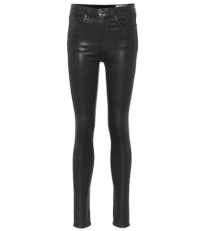High-rise coated skinny jeans