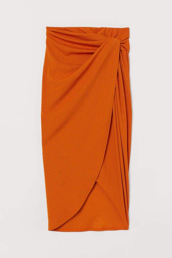 Draped Jersey Skirt - Orange