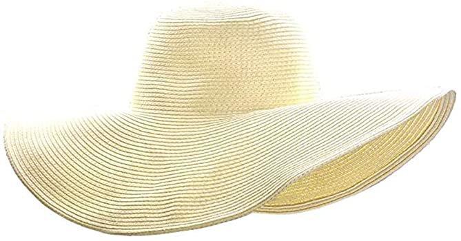 ASSQI Women Foldable Floppy Wide Large Brim Sun Hats Derby Cap Beach Straw Hat Beige at Amazon Women's Clothing store