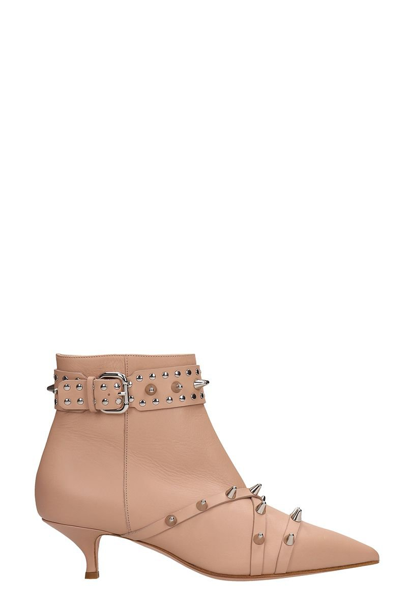 RED Valentino Pink Leather Ankle Boots