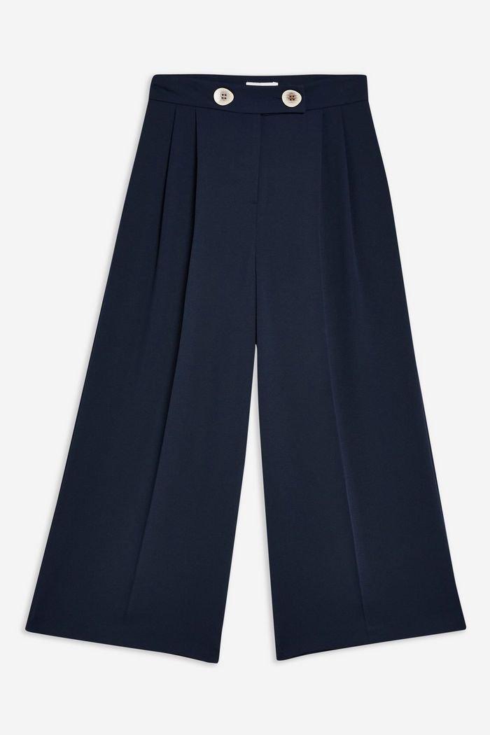 Navy Crop Wide Leg Trousers | Topshop navy
