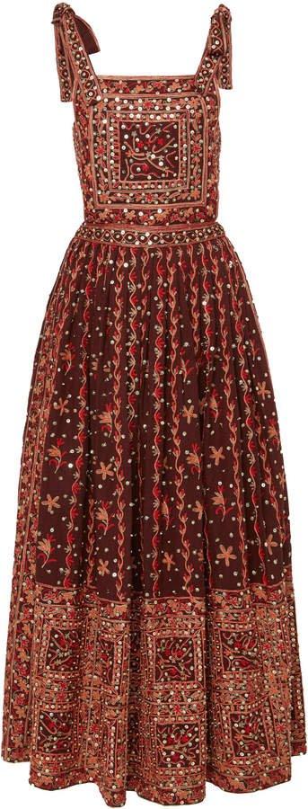 Nasya Embroidered Linen-Cotton Blend Maxi Dress