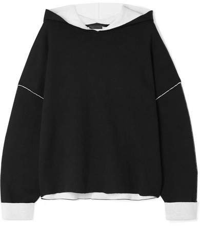 Oversized Two-tone Cotton-blend Hoodie - Black