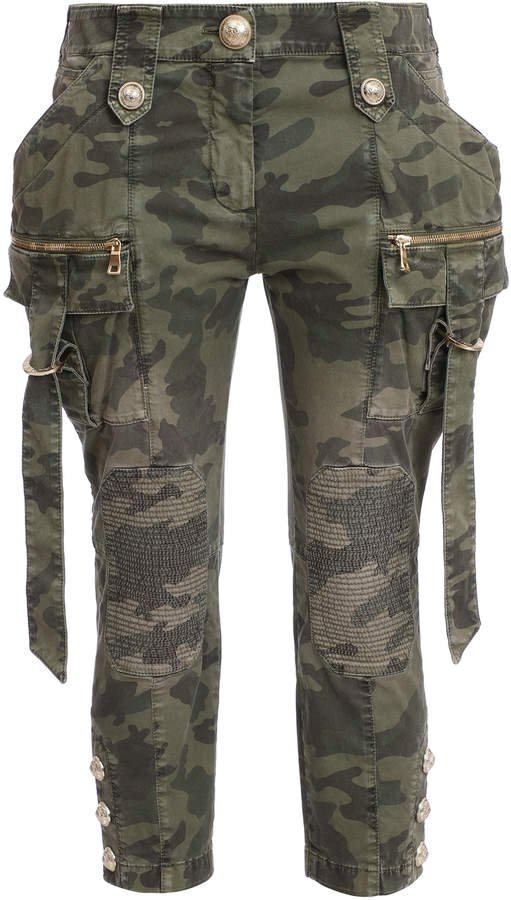Camo Stretch Mid-Rise Cargo Pant