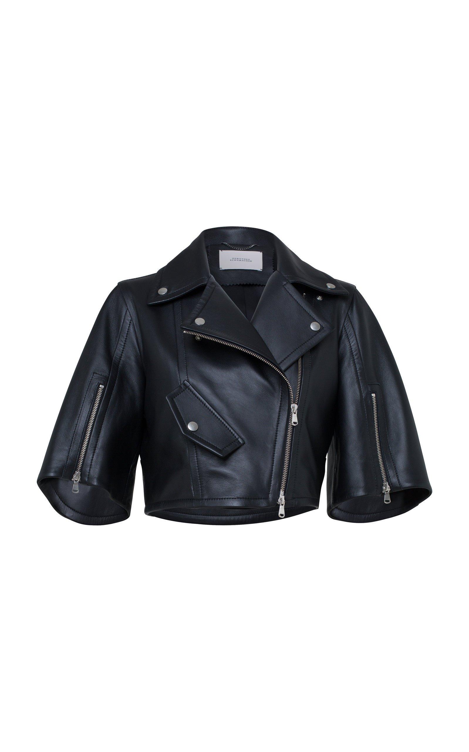 Dorothee Schumacher Modern Volumes Cropped Vegan Leather Jacket