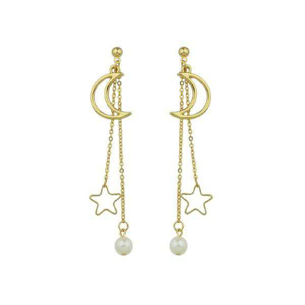 Earrings   Shop Women's Gold Long Chain Hanging Earrings Moon Star Shape at Fashiontage   b012a141-0-color-gold