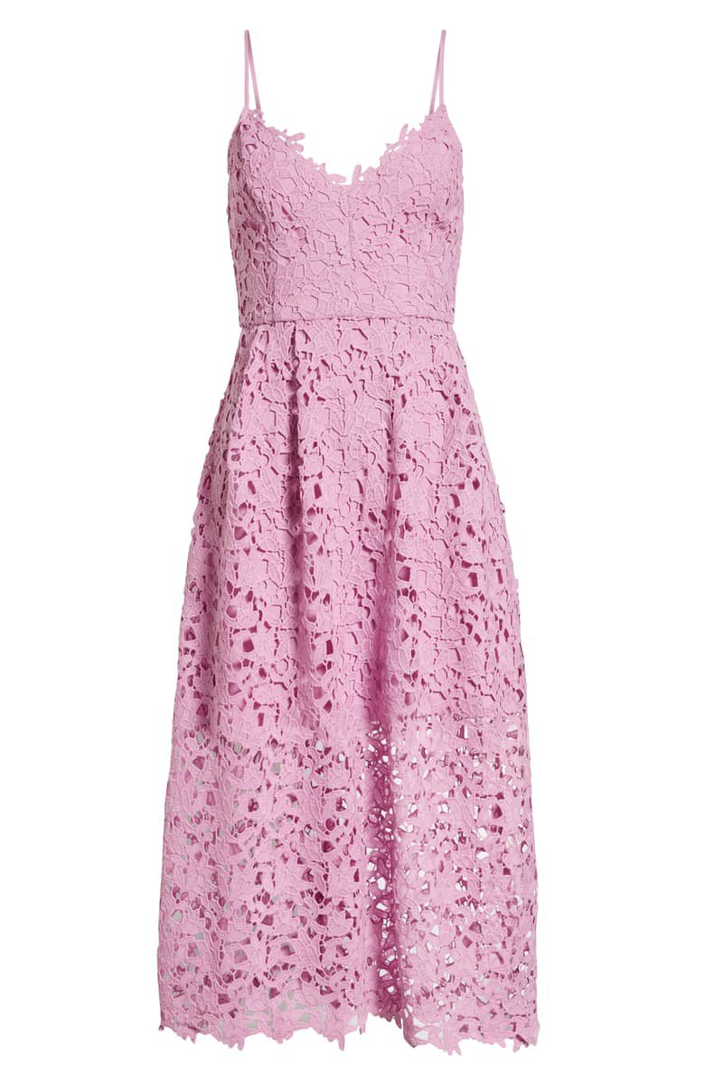 ASTR the Label Lace Midi Dress Pink