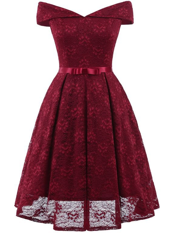 Slash Neck Bow Lace Midi Dress