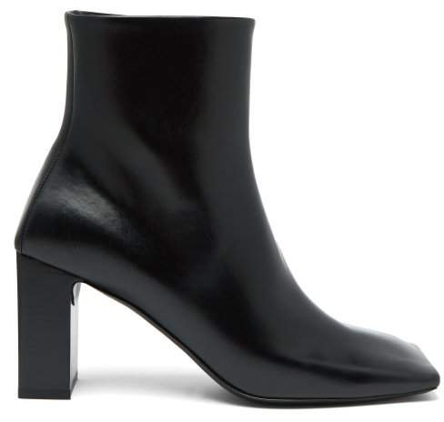 Double Square Block Heel Leather Boots - Womens - Black