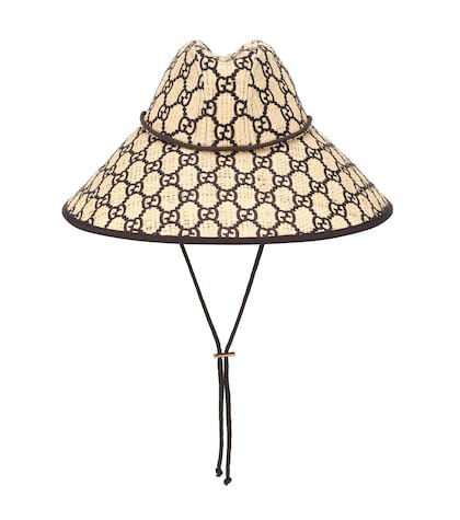 GG raffia wide-brim hat