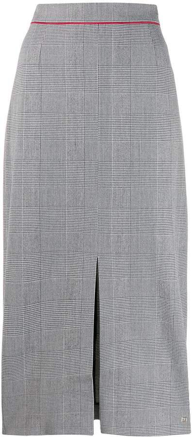 checked high waisted pencil skirt