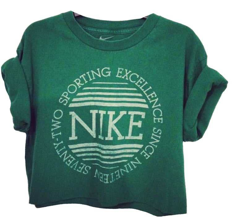 Vintage Green Nike T-Shirt w/ Rolled Up Sleeves