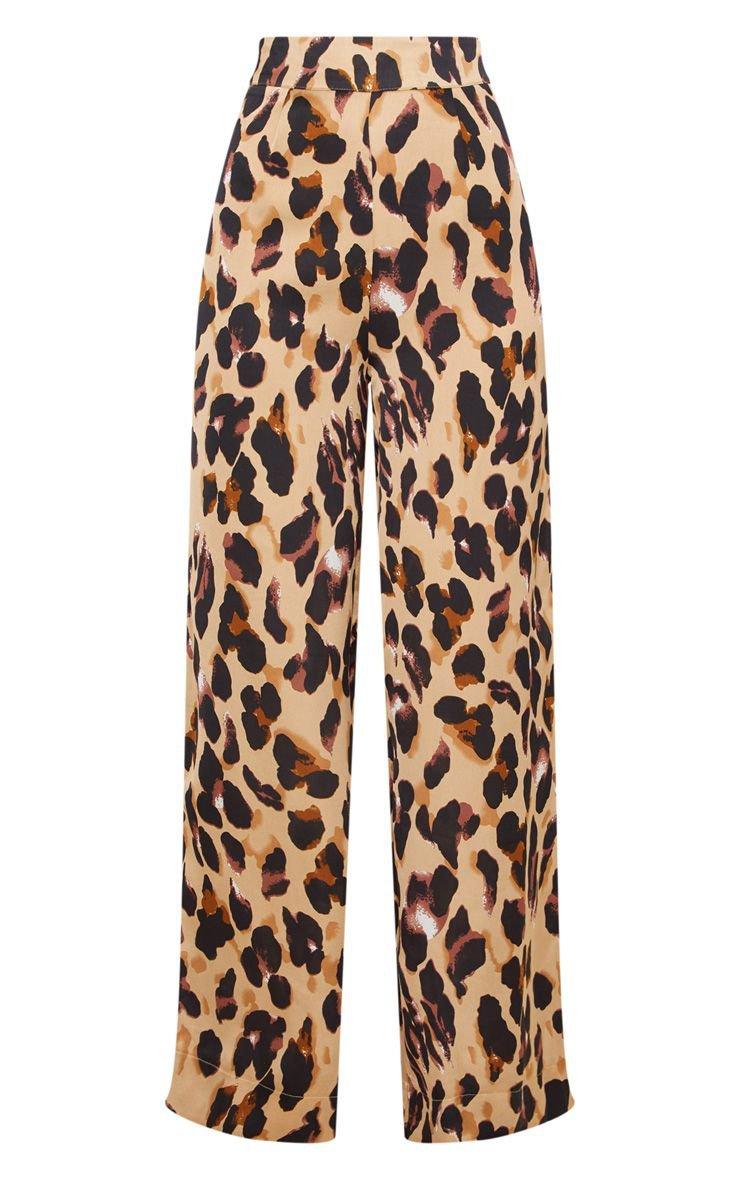 Leopard Print Satin Wide Leg Pants | PrettyLittleThing USA