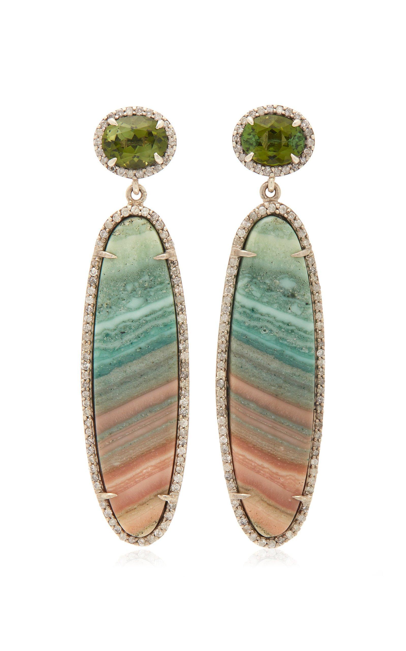Sheryl Lowe Saturn Chalcedony And Green Tourmaline Drop Earrings