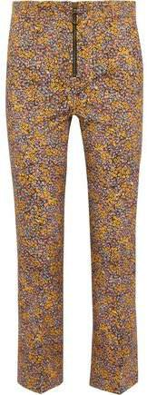 Cropped Floral-print Cotton-blend Twill Straight-leg Pants