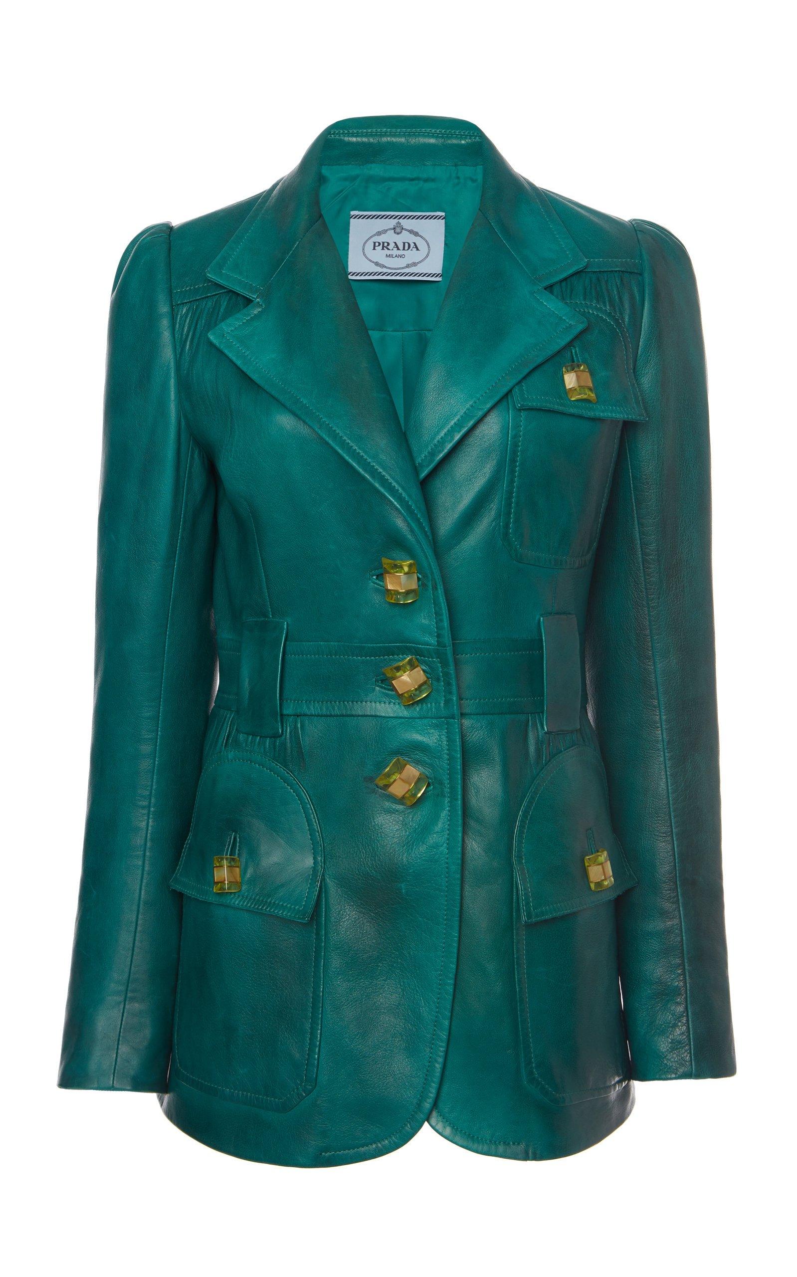 Prada Patch-Pocket Leather Blazer Size: 46