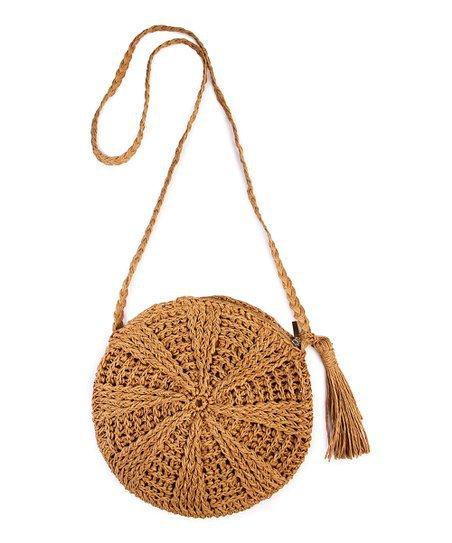 Riah Fashion Khaki Straw Crossbody Bag | zulily