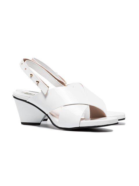 Reike Nen White 60 Patent Leather cross-over Sandals - Farfetch