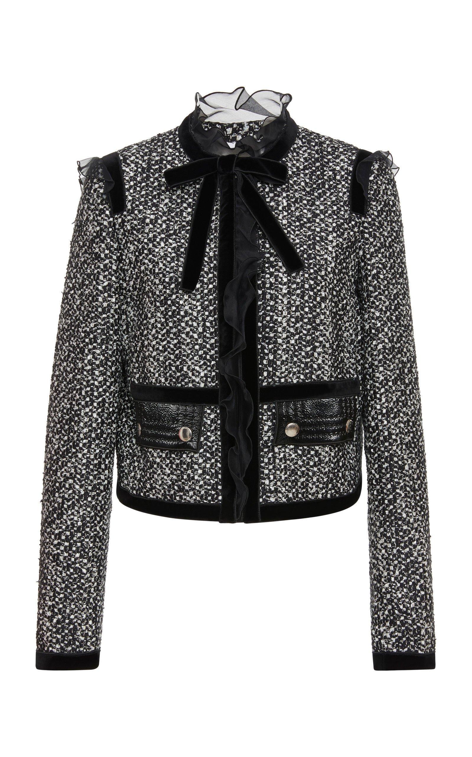 Ruffled Bow-Detailed Tweed Jacket by Giambattista Valli | Moda Operandi