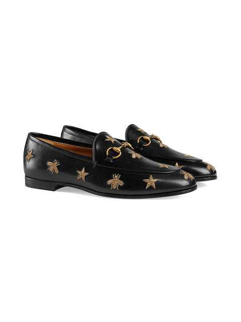 Gucci Black Gold Jordaan Leather Loafers - Farfetch
