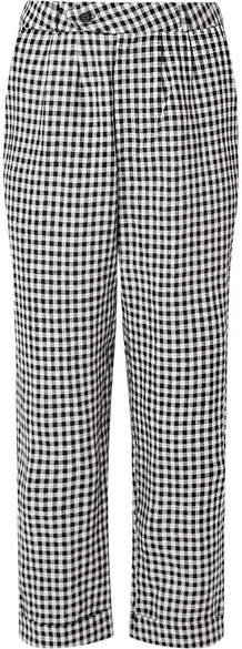 Tanner Cropped Gingham Linen Slim-leg Pants - Black