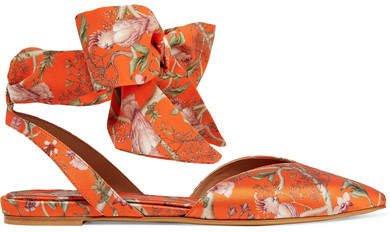 Johanna Ortiz Vera Printed Silk-satin And Crepe De Chine Point-toe Flats - Orange