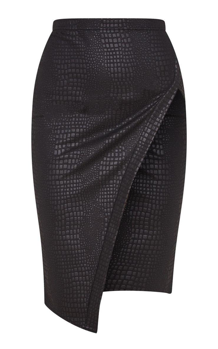 Black Embossed Croc Extreme Split Midi Skirt   PrettyLittleThing