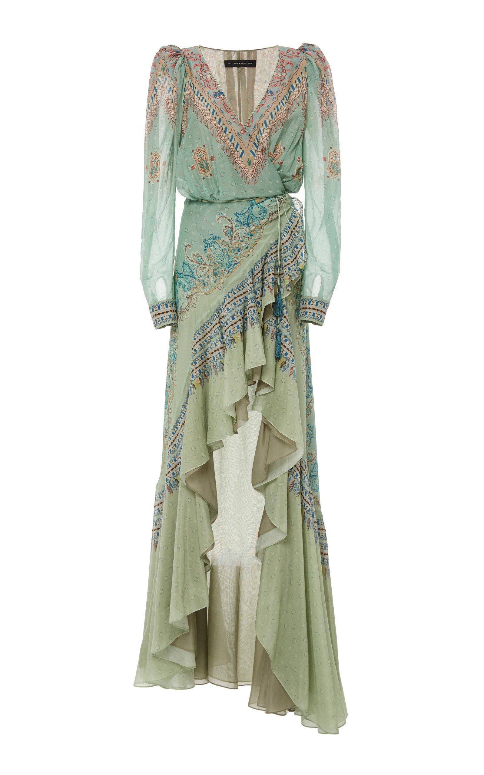 Etro Asymmetrical Georgette Maxi Dress